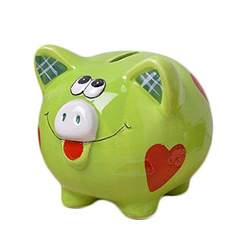 Romantiko Ceramic Pig Piggy Bank Coin Bank Green for Kids Gift