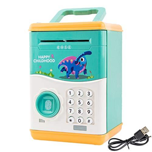CYCTECH Cartoon Piggy Bank Mini ATM Electronic Cash Coin Can Password USB Charging Money Bank Safe Saving Box Auto Scroll Paper Money Saving Box Toy Gift for Kids Children A Pink B Green