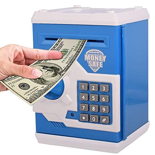 FEENM Electronic Password Piggy Bank Fingerprint Password Lock Mini ATM Money Saving Box Toy Electronic Coin Bank Great Gift Toy for Children Kids Blue-2
