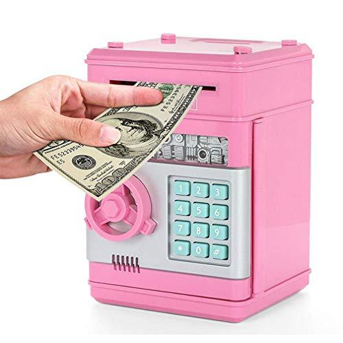 Joyfeel Piggy Bank ATM Bank Cartoon Electronic ATM Password Piggy Bank Cash Coin Can Auto Scroll Paper Money Saving Box Gift for Kids Pink