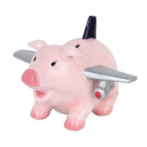 PTC Ceramic Airplane Pig Savings PiggyCoinMoney Bank 65 L
