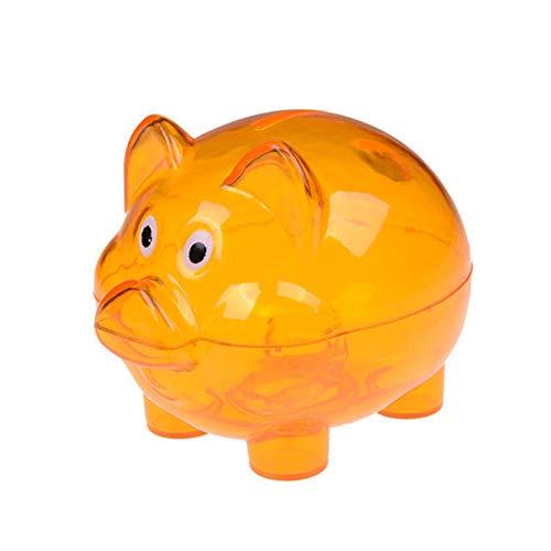 alignmentpai Lovely Cartoon Pig Pattern Transparent Plastic Piggy Bank Coin Money Banks for Kids Birthday Gift Orange