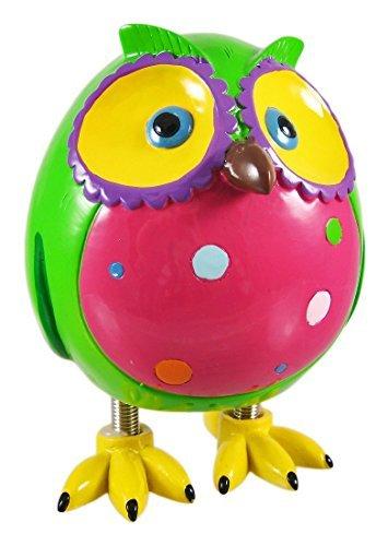 Super Cute Green Owl Piggy Bank W Spring Legs Money by Blowfish by Zeckos by Zeckos