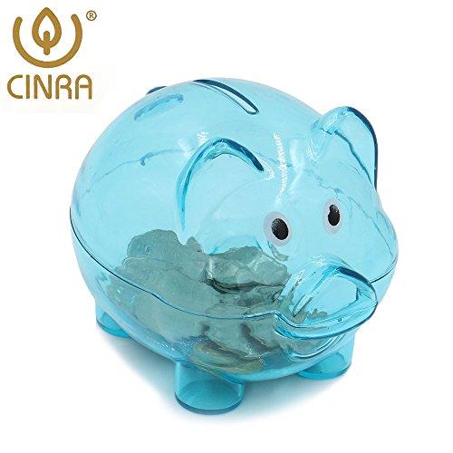 CINRAÂ Transparent Cute Blue Pig Piggy Bank Cartoon Toy Bank Money Market Coin Box Money Saving Box Kids Gift