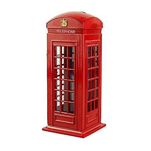 Piggy Bank Casety Red Metal London Street Telephone Booth Piggy Bank Coin Bank Coin Box - 6H