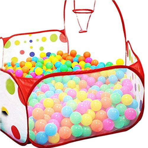 EKIMI Pop up Hexagon Polka Dot Kids Ball Play Pool Tent Carry Tote Toy 50 Balls