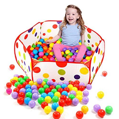 Gotd Pop up Hexagon Polka Dot Kids Ball Play Pool Tent Carry Tote Toy 50 Balls
