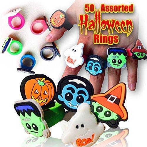 50 Halloween Novelty Rings Assorted Designs - TeenageAdult Size