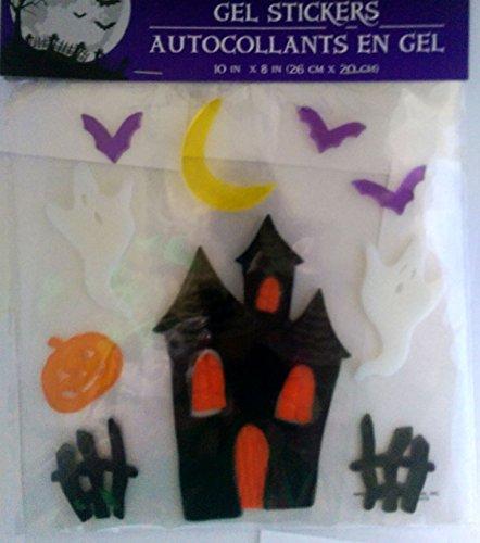 Halloween Gel Window Clings ~ Haunted House Ghosts and Pumpkins 14 Clings 1 Sheet