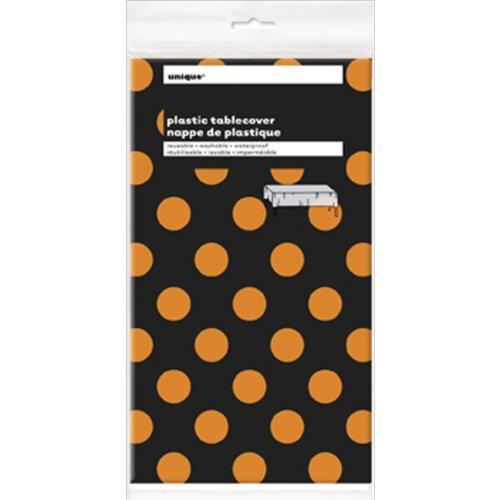 Orange Black Polka Dot Halloween Plastic Tablecloth 108 x 54