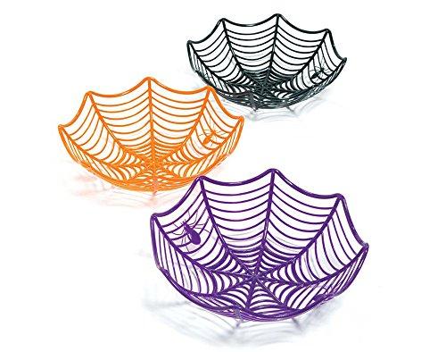SALE - 3 Large Spider Web Plastic Basket Bowls for Halloween Parties
