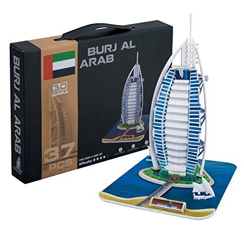 Aubig Paper 3D Puzzle Model Dubai Burj Al Arab Hotel DIY Jigsaw