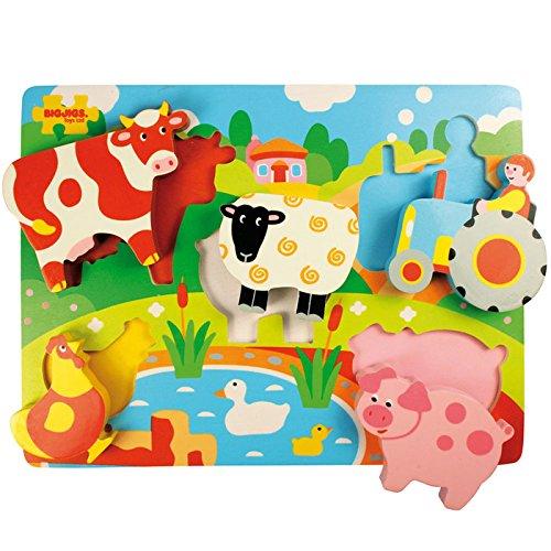 Bigjigs Toys BJ326 Chunky Lift Out Farm Puzzle