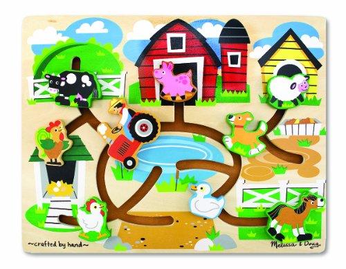 Melissa Doug Farm Sliding Maze Wooden Puzzle Game
