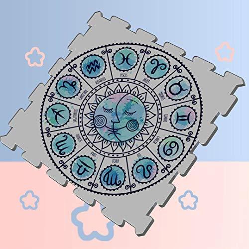 Magic Zodiac Watercolor Circle Puzzle Exercise Floor Mat Foam Puzzle Play Mat Floor Soft Protection Mats,16 Tiles 12x12 Play Mat Baby Puzzle