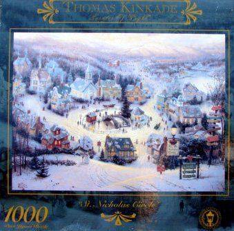 New 1000pc Thomas Kinkade St Nicholas Circle Puzzle Top Popular Stocking Stuffer Last Minute Present Idea Unisex Him Her Girl Teen Boy Daughter Son Brother Sister Unique Unexpensive Creative Toy Game