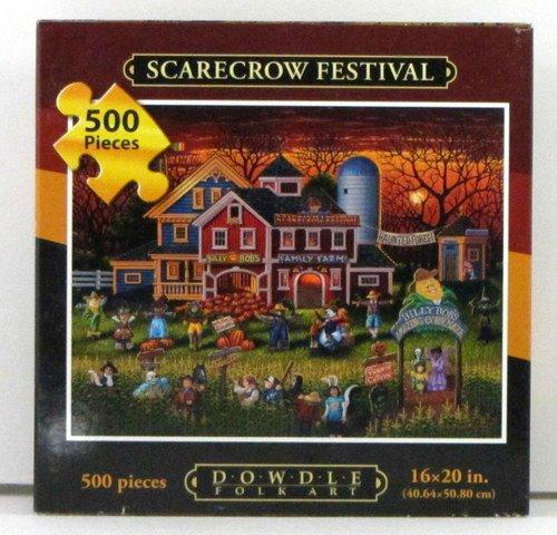 Dowdle Folk Art Scarecrow Festival Puzzle 500 Pieces 16 X 20