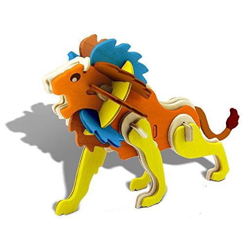 Bfun Assemble  Paint DIY 3D Woodcraft Animal Puzzle Kit Lion