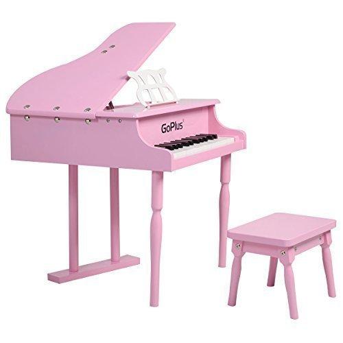 Goplus Childs 30 key Toy Grand Baby Piano w Kids Bench Wood Pink New