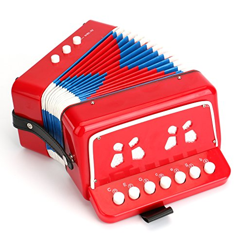 Tosnail Kids Piano Percussion Accordion Musical Toy Red