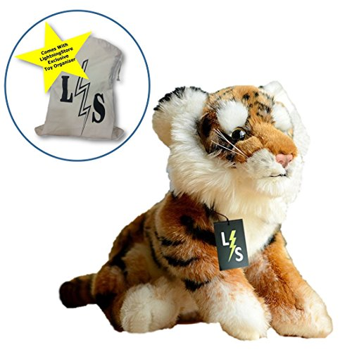 LightningStore Adorable Cute Orange and Black Siberian Tiger Stuffed Animal Doll Realistic Looking Plush Toys Plushie Childrens Gifts Animals  Toy Organizer Bag Bundle