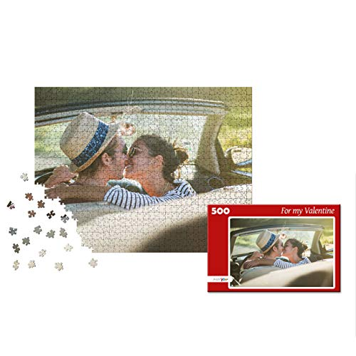 puzzleYOU Photo Puzzle with 500 Pieces Custom Puzzle with Your Image and an Individual give-Away Puzzle Box red
