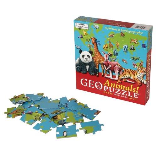 GeoPuzzle Animals - Educational Geography Jigsaw Puzzle 48 pcs