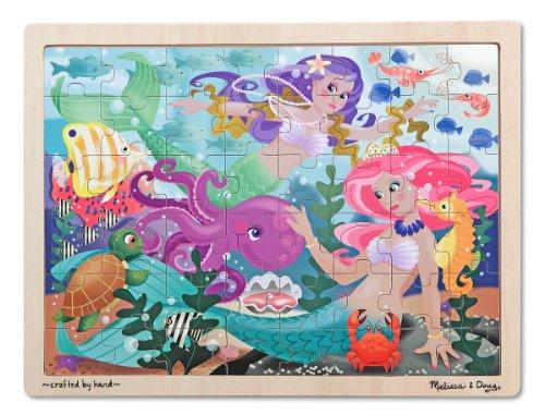 Melissa Doug Mermaid Fantasea Wooden Jigsaw Puzzle With Storage Tray 48 pcs