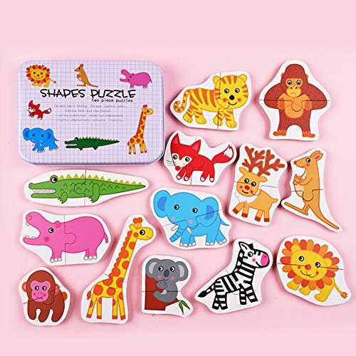 DishyKooker Kids Wooden Cartoon AnimalPlant Pattern Puzzle Toy Iron Box Packing Wild