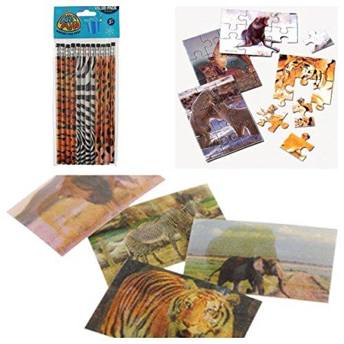 Adorable Childrens Wild Animal  Safari Theme Party Favor Set  72 Animal Lenticular Stickers 12 Pencils  12 Mini Animal Jigsaw Puzzle
