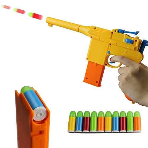 ZHENDUO Mauser Pistol Toy Gun with 10 Rubber Soft Bullets Mini Foam Dart Gun Blasters for Children Kids Cosplay Gifts Yellow