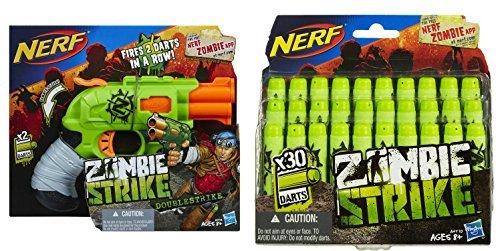 NERF Bundle Zombie Strike Doublestrike Blaster 1 Zombie Strike Dart Refill Pack 1