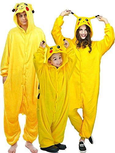 DSplay Warm Sleepwear Kids Cosplay Pajamas Costume Homewear Lounge Wear NO140 Kids Pikachu