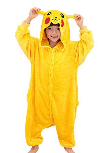 Tonwhar Pikachu Kigurumi Costumes for Children Kids Cuddly Onesie Pajamas 105height4527-492