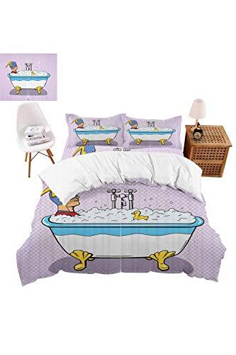 vroselv-home Bedding Set Superhero Bubble Bath Duvet Cover Set Bedspread for ChildrensKidsTeensAdults 4 Piece - King SizeNO Comforter