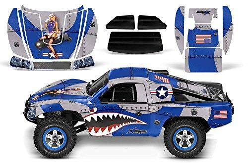Designer Decal for Traxxas Slash 110 58034 and Slayer 110 59074 AMRRACING RC Kit - P40 Warhawk - Blue