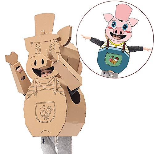 ROCK1ON Creative Cardboard Playhouse Toys Kids DIY Coloring Splice Crafts Model Wearable Assemble Cardboard Imitate Piggy for Children Kindergarten Indoor Boys Girls Gifts