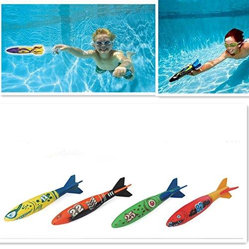 Edealing 4PCS Toypedo Bandits Toy Torpedo Dive Swim Sticks Swimming Pool Bathtub Bath Fun