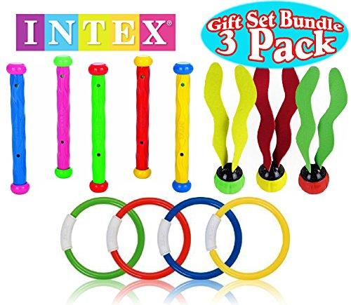 Intex Underwater SwimmingDiving Pool Toy Rings 4 Rings Diving Sticks 5 Sticks Aquatic Dive Balls 3 Balls Gift Set Bundle - 3 Pack