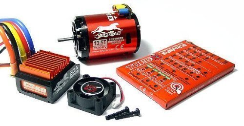 SkyRC Cheetah 2590KV 135T 240watts Sensored Brushless Motor and CS60 60A ESC Combo Set for 112 and 110 Scale Car Electric Speed Controllers Support Both Sensor or Sensor-less Brushless Motor