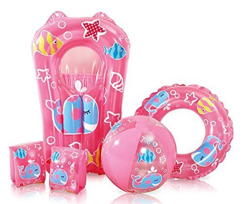 Kids Pink Swimming Pool 5 Piece Set Inflatable Beach Ball Ring Armbands and Surfer