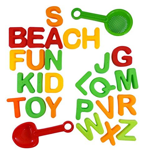 ABC Alphabet Beach Sand Mold Toy Set for Kids with 26 Letter Molds Shovel Sifter colors vary - Compatible with Kinetic Sand