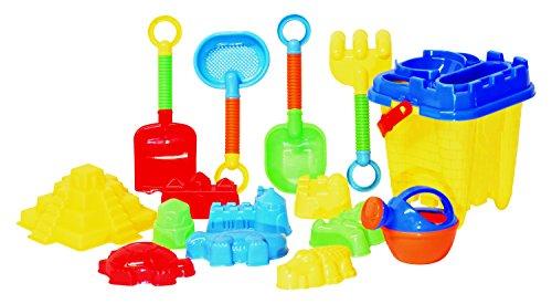 JustForKids Beach toy set kids beach toy set with heavy duty reusable mesh bag Castle Bucket Sand Mold 16 Piece