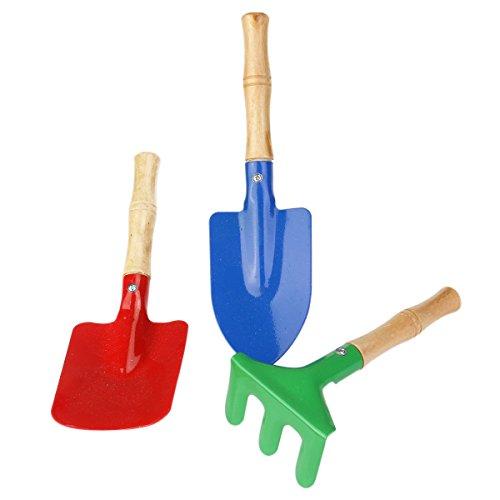 NUOLUX Outdoor Garden Tools Set Rake Shovel Kids Beach Sandbox Toy 3pcs
