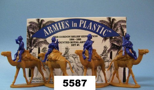 Egypt and Sudan - Gordon Relief Expedition Camel Corps Royal Artillery Set 1 8 piece set of 54mm Plastic Army Men Figures - 132 Scale