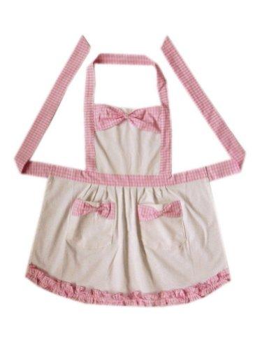 Pink Plaid Kids Apron Bow Knot Girls Apron Japanese Style Apron