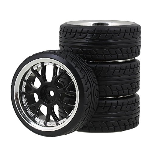 Yiguo 4pcs Plating Y Shape Wheel Rims and Black Diagonal Pattern Plastic Tires for HSP HPI RC 110 Drift Car