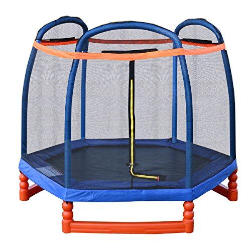 Giantex 7FT Trampoline Combo w Safety Enclosure Net Indoor Outdoor Bouncer Jump Kids