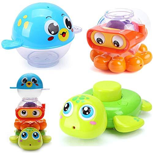 Konig Kids Stack Spray Bath Toys Puffer Octopus Turtle Sea Animals Bathtub Set for Baby Toddlers