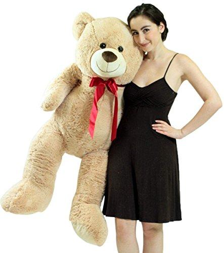 Big Plush 4 Foot Teddy Bear Extra Soft 48 inch Beige Tan Jumbo Stuffed Animal